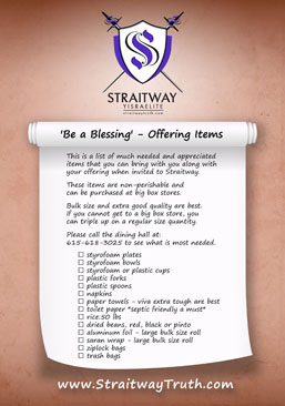 "Straitway ""Be a Blessing"" Offering Items List"